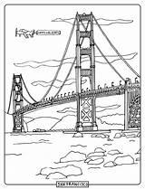 Bridge Swinging Gate Golden Drawing Sketch Step Template Coloring sketch template
