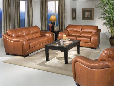 chestnut leather contemporary living room wwaterfall arms