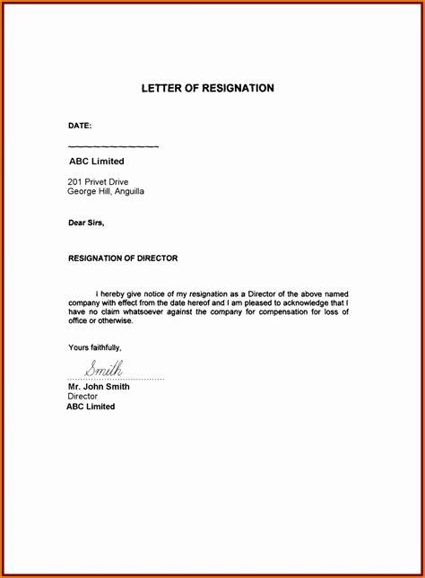 resign letter exle sle resignation letter format