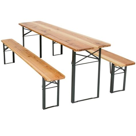 Table Et Bancs Pliant En Bois, Table De Jardin, Table De