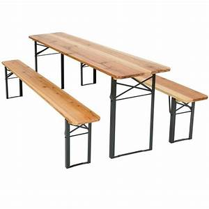 Table Banc Bois : table et bancs pliant en bois table de jardin table de r ception table de camping tectake ~ Teatrodelosmanantiales.com Idées de Décoration