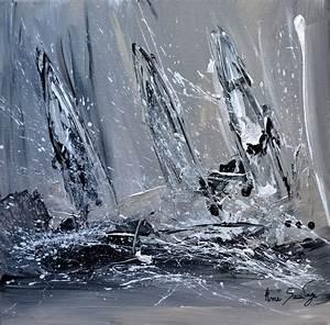 Tableau Moderne Noir Et Blanc : tableau contemporain gris noir blanc intitule voiliers en noir et blanc ~ Teatrodelosmanantiales.com Idées de Décoration
