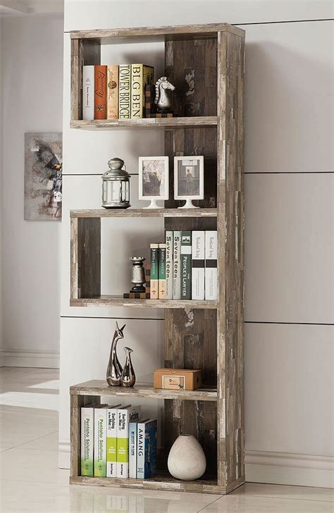 White Backless Bookcase by Salvaged Cabin Semi Backless Bookcase Coaster Furniture