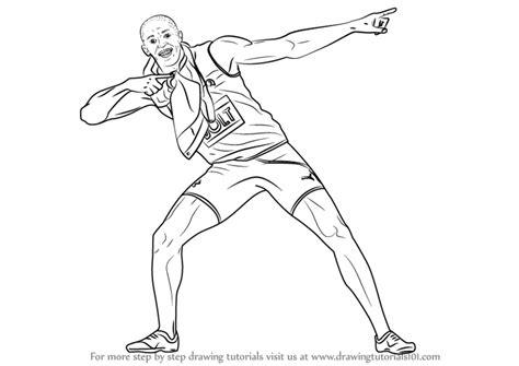 step  step   draw usain bolt drawingtutorialscom