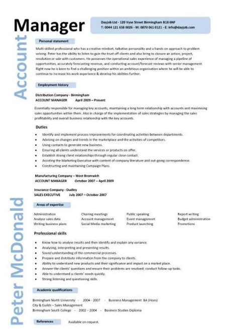 Exle Account Executive Resume by Account Manager Cv Template Sle Description