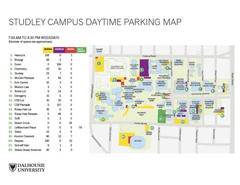 Parking Campus Maps Dalhousie University