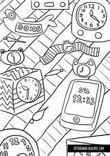 Tok Tik Coloring Pages Tiktok Clock Kello Call sketch template
