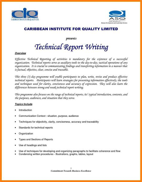 technical report template 8 sle of technical report writing learning epis temology