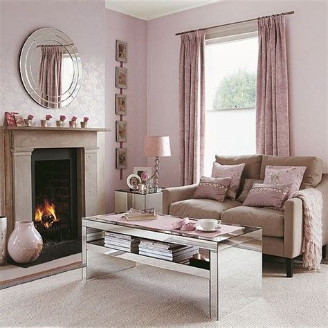 shell pink living room  reflective accessories