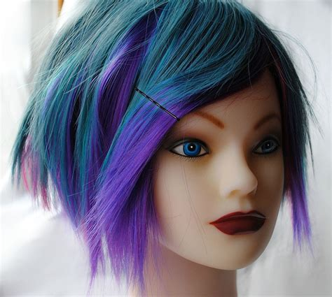 Blueberry Burst Wig Blue Purple Pink Teal Green Hair
