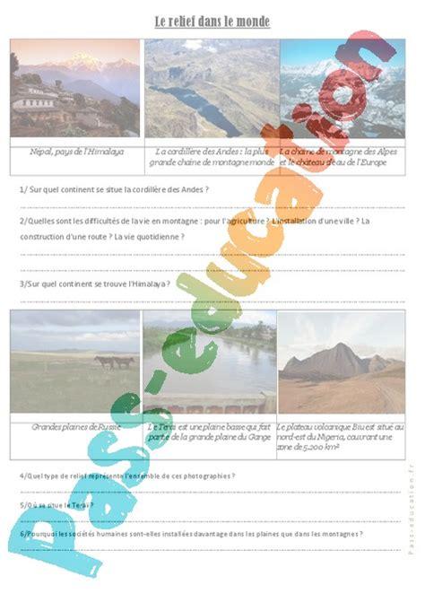 Carte Relief Monde Cycle 3 by Relief Dans Le Monde Cm1 Cm2 Exercices G 233 Ographie