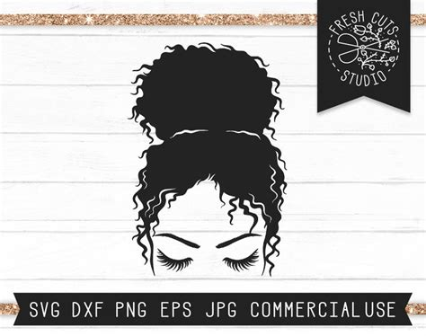 Commercial license is always included! Messy Bun SVG File Instant Download Messy Bun Cut File for ...
