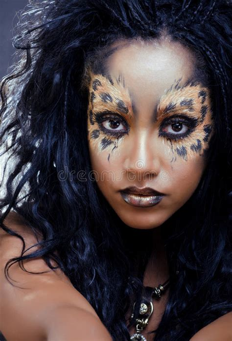 leopard make up afro with leopard make up stock photo image 33559856