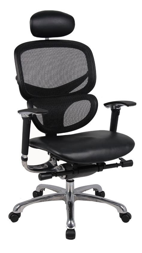 wave ergonomic mesh with leather seat