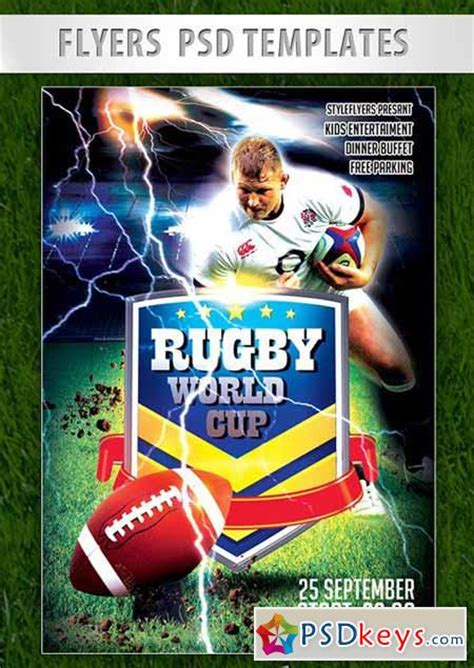 rugby world cup flyer psd template facebook cover