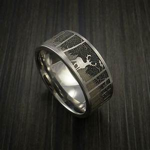 elk in the woods hunter wedding ring cobalt chrome band With deer hunting wedding rings