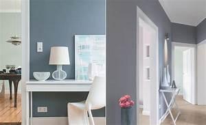 Blau Grau Wandfarbe Wohnzimmer Raum Und Mbeldesign