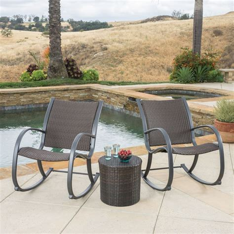 outdoor patio furniture 3pc brown wicker rocking chair set