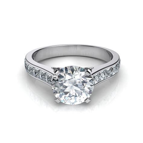 princess cut channel set diamond engagement ring