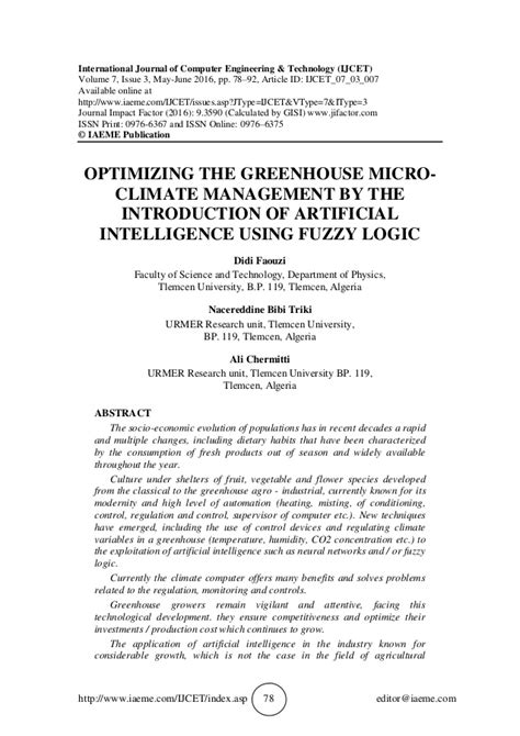 OPTIMIZING THE GREENHOUSE MICRO-CLIMATE MANAGEMENT BY THE