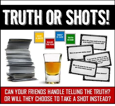truth  shots fun drinking game printable cards
