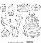 Desserts Ice Cream Cakes Clipart Illustration Coloring Dessert Royalty Outlined Vector Visekart Clip Mandala Clipartof Template sketch template