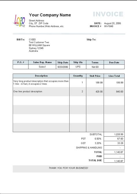 Invoice Template Typical Invoice Layout Invoice Template Ideas