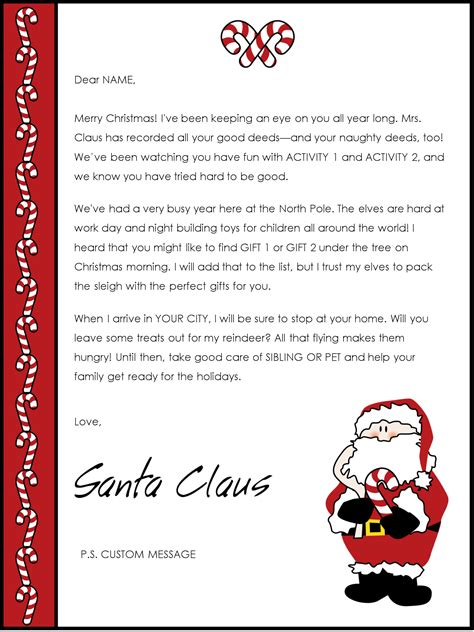 santa letter templates downloads christmas letter