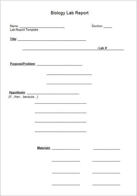 sample lab report templates  docs word pages