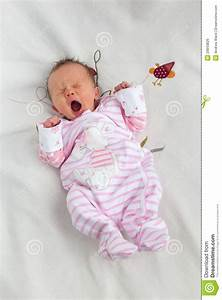 Cute Yawning Newborn Baby Girl Royalty Free Stock Image ...