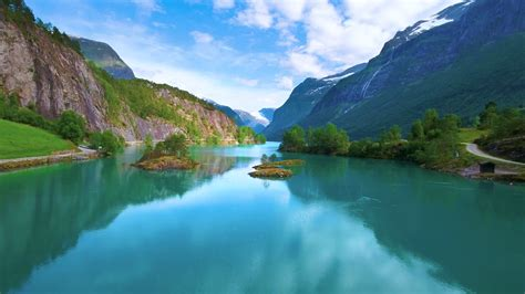 Lovatnet Lake Beautiful Nature Norway Stock Video Footage