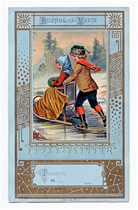 vintage clip art winter reward  merit