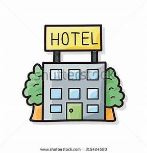 Hotel Cartoon Vector Illustration Black White Stock Vector ...