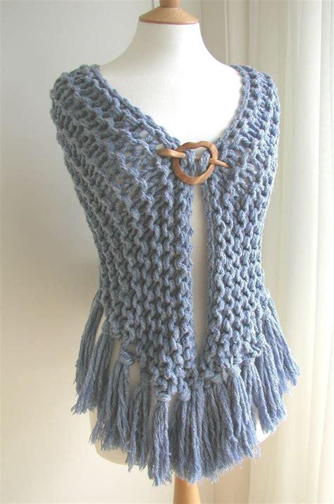 denim garter stitch shawl     shawl