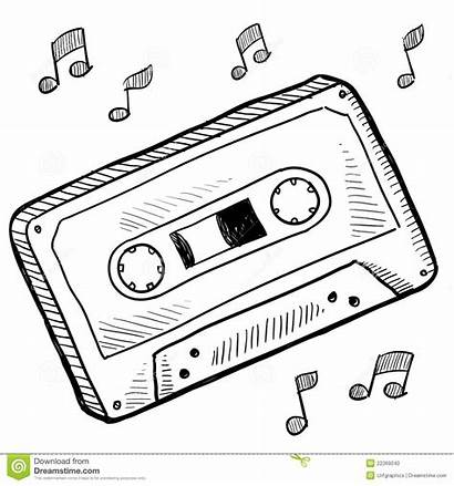 Cassette Tape Drawing Clipart Sketch Vector Drawings