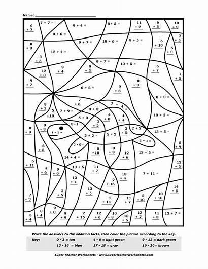 Number Addition Math Worksheets Code Worksheet Coloring