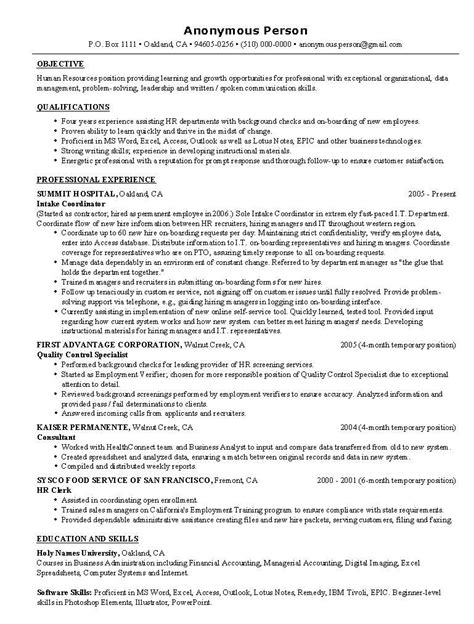 entry level hr resume exles