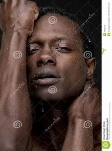 Sexy African American Man With Water On Face Royalty Free ...
