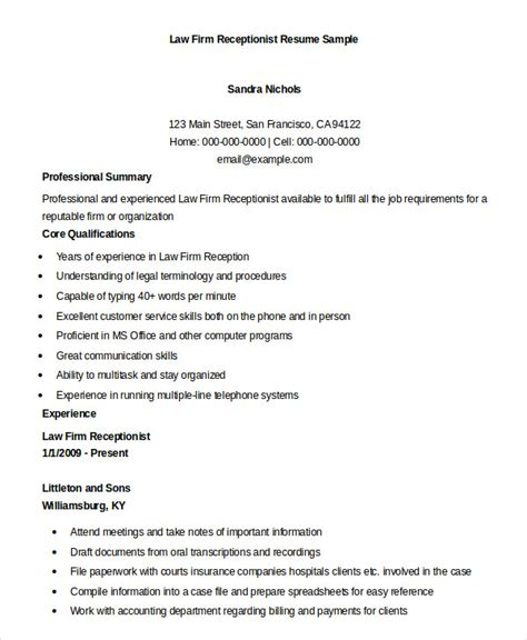Firm Receptionist Resume by Receptionist Resume Exle 9 Free Word Pdf Documents