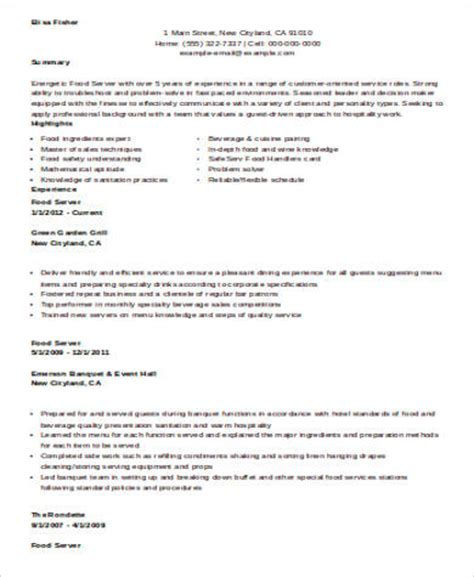 restaurant server resume template free sle restaurant server resume 6 exles in word pdf