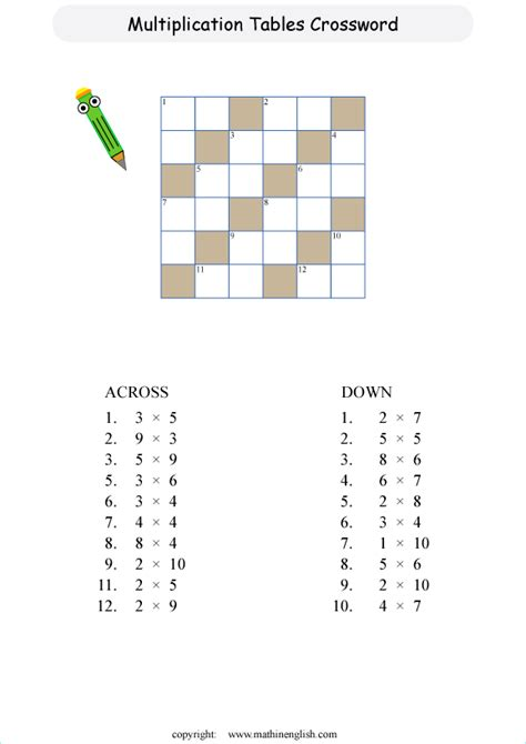 mixed multiplication tables crossword puzzles