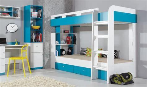 lit enfant superpos blanc et bleu avec tiroirs de