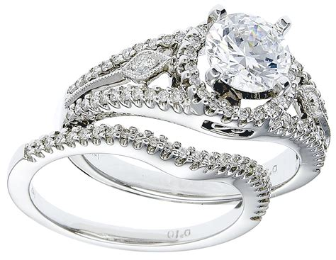 diamond engagement ring set 14k white gold with diamonds