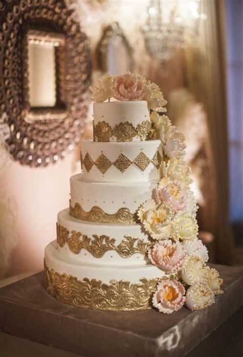 elegant gold wedding cake  sugar flowers elizabeth