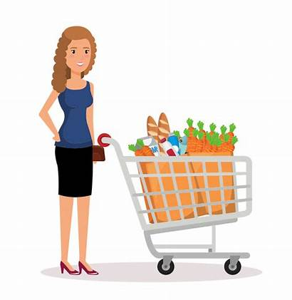 Clipart Shopping Woman Supermarket Grocery Lady Toy