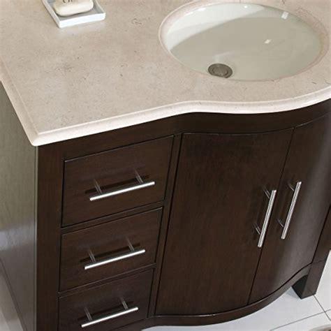 off center sink vanity silkroad exclusive cream marble top off center single sink