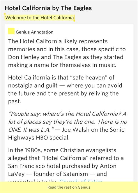 Welcome To The Hotel California  Hotel California By The Eagles