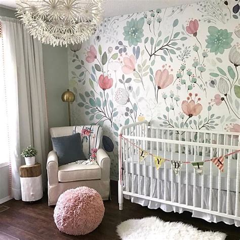 floral wallpaper accent wall   nursery  whimsical