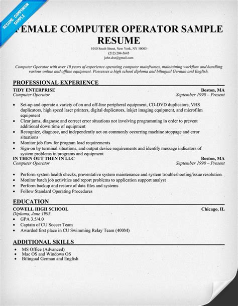 Resume For The Post Of Computer Operator by Computer Operator Resume Sle Florida Expert