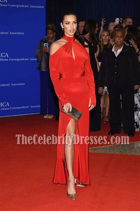 adriana lima red cutout cold shoulder evening prom